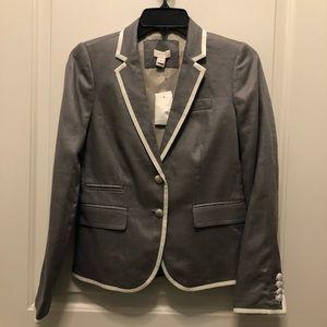 J.Crew Factory Gray White 2 Button Blazer 00